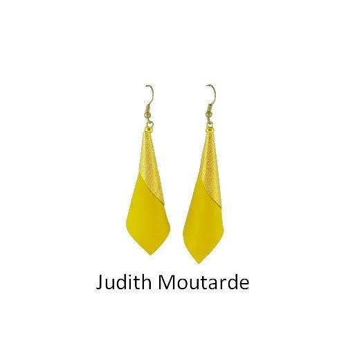 Judith: Earrings leather bouclesdoreillesjudithmoutarde