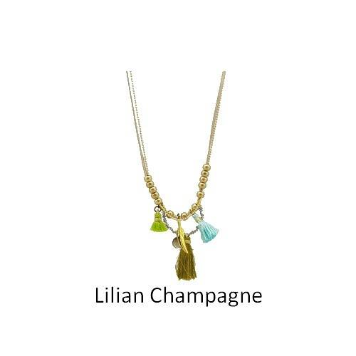 Lilian: long leather necklace collierlilianchampagne
