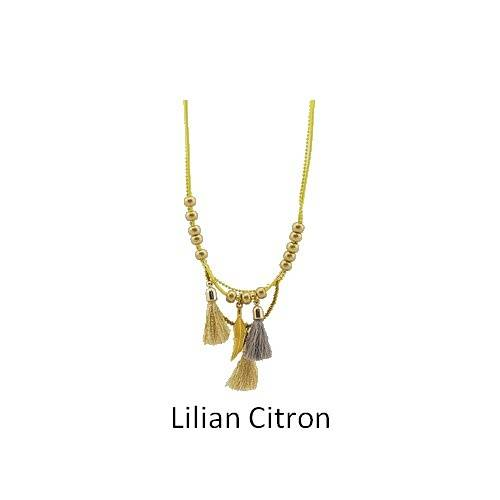 Lilian: long leather necklace collierliliancitron